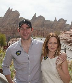 Emily Blunt and John Krasinski visit Cars Land at Disney California Adventure Park--I love you even more when you're standing in Disneyland, John.