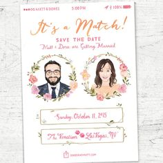 Custom Illustrated Tinder Save the Date A7 Size 5x7 by YayPaperCo