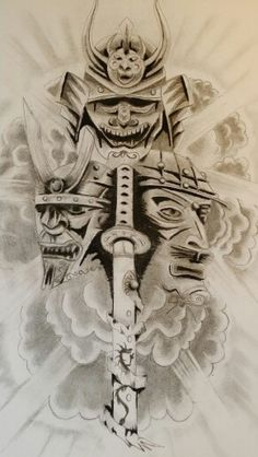 Samurai masks tattoo design
