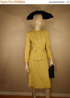 ON SALE 30% OFF All Aboard Daffodil Tours - Early 50s Daffodil Yellow Rayon Wasp Waist Suit w/2 Skirts by RoadsLessTravelled2 on Etsy https://www.etsy.com/nz/listing/256471098/on-sale-30-off-all-aboard-daffodil-tours