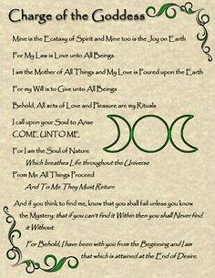 Charge of the Goddess: Wicca Pagan New Age Goth Witch Celtic Spirit Soul Magic Witchcraft Spell Books, Wiccan Spell Book, Wicca Witchcraft, Magick Spells, Pagan Witch, Witches, Celtic Paganism, Wiccan Symbols, Wiccan Rede
