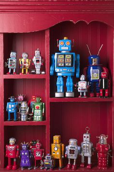 Toy Robots On Shelf by Garry Gay - Toy Robots On Shelf Photograph - Toy Robots On Shelf Fine Art Prints and Posters for Sale Arte Robot, I Robot, Cool Robots, Cool Toys, Vintage Robots, Retro Robot, Retro Toys, Vintage Toys, Space Toys