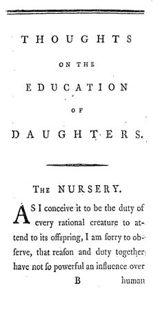 First page of Mary Wollstonecraft's Thoughts on the Education of Daughters - 1787