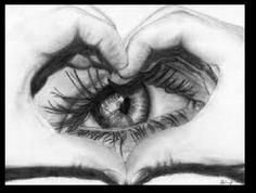a drawling of someone forming a heart with their hands over their eye