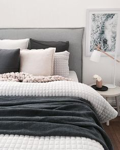 """Who is watching The Block? The poor contestants just got a slamming for """"over styling"""" - I'm dying in my lounge room for them the poor things. I get the messy casual look that's everywhere right now but I love a well made bed more...just saying."""