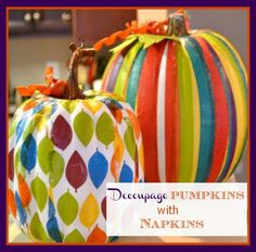 Decoupage pumpkins with decorative napkins