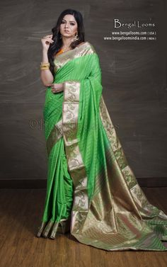 f202ab69e27955 Art Silk Kanchipuram Saree in Bright Green and Brushed Gold. Website  - www.