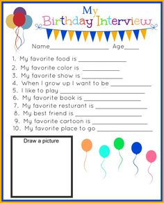 My Birthday Interview Printable! Track your kids birthdays through the years with these fun questions and answer printables! Birthday Bash, Birthday Quotes, Girl Birthday, Birthday Parties, Birthday Ideas, Birthday Celebrations, Happy Birthday, Birthday Interview, Birthday Traditions