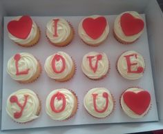 """""""I Love You"""" cupcakes by TanniCakes on FB"""