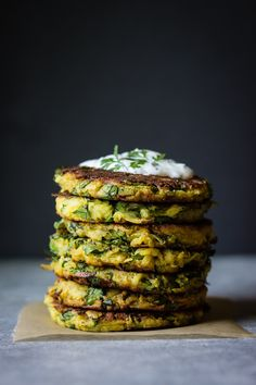 SPICED KOHLRABI BULB & LEAF BUTTERMILK CHICKPEA FLOUR FRITTER with MINT, CILANTRO & LIME YOGURT [ful-filled] [fritter]