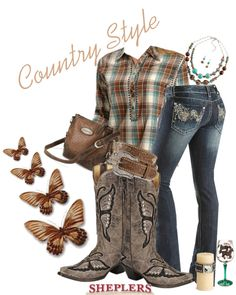 """""""Country Girl Style"""" by sheplers-western-wear on Polyvore...hahahaha I can name all these items and there brand! Gotta love working at a western store!"""