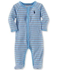Ralph Lauren Baby Boys' Striped Footed Coverall - Blue Multi Newborn