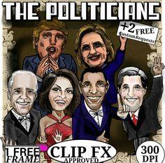TPT Clip art: The Politicians, President Obama, Michelle Obama, John Kerry, Joe Biden, and Donald Trump, + Hilary clinton