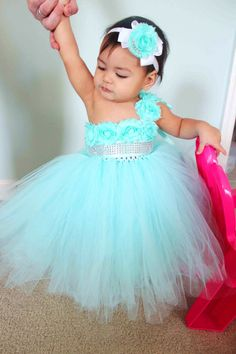 Gorgeous Aqua Tutu Dress Flower Girl Tutu by ClassySassyElegance