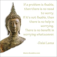 If a problem is fixable, then there is no need to worry.  If it's not fixable, then there is no help in worrying.  There is no benefit to worrying whatsoever.  ~ Dalai Lama