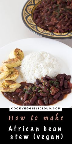 These spicy, stewed African beans served with baked plantain and rice make a gre… These spicy, stewed African beans served with baked plantain and rice make a great vegan or vegetarian dinner or side dish. Vegetarian Dinners, Vegetarian Recipes, Vegetarian Italian, Lentil Recipes, Bean Recipes, Marmite Recipes, Delicious Vegan Recipes, Healthy Recipes, Healthy Food