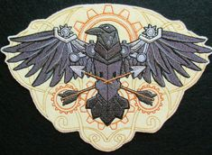 Extra Large Embroidered Western Steampunk Raven Applique Patch