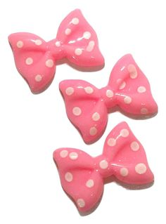 Light pink polka dot bow resin cabochon 27x20mm / 1-5 pieces