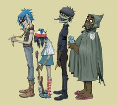 Anonymous said: Can you tell me about these 'gorillaz', please ? Gorillaz is a virtual band created by Damon Albarn and Jamie Hewlett. Art Gorillaz, Gorillaz Albums, Gorillaz Noodle, Murdoc Gorillaz, Damon Albarn, Art And Illustration, Illustrations, Nu Metal, Tank Girl