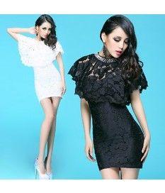 2Pcs Hollow Floral Style Shawl Slim Fit Chest Wrap Dress
