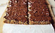 Granola bars with chocolate bottoms