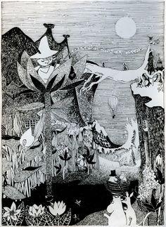 "onlyabandonedart: ""Moomin world - a mashup of Tove Janssons illustrations, made into a birthday gift! Illustration Noel, Ink Illustrations, Moomin Cartoon, Les Moomins, Moomin Valley, Tove Jansson, Tinta China, Eye Art, Linocut Prints"