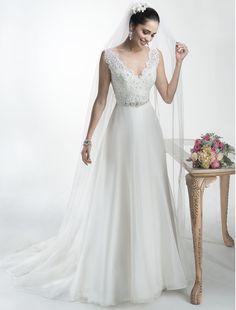 2c2c11a803bf Bridesire - A-Linie V-Ausschnitt ärmellos Brautkleid  158683  - €185.69 · Abiti  Da Sposa Di Maggie ...