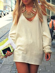 schulterfreies Kleid Langarm-aprikosenfarbe