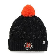 Cincinnati Bengals '47 Brand Womens Fiona Cuff With Pom Knit Beanie – Black