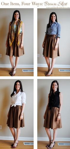 How to Wear a Brown skirt, Work Outfits, Style a brown skirt Cute Teacher Outfits, Teaching Outfits, Modest Fashion, Fashion Outfits, Jw Fashion, Spring Summer, Brown Skirts, One Clothing, Other Outfits