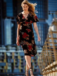 This silk, velvet burnout dress features beautiful flounce sleeves and comes just below the knee. Fitted under bust, the Lenora Dress flows effortlessly and mak Short Sleeve Dresses, Dresses With Sleeves, Wrap Dress, Velvet, Silk, Casual, Beautiful, Fashion, Moda