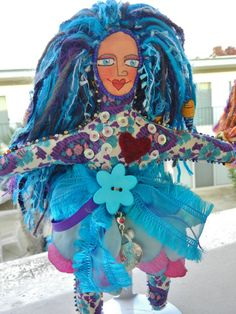 Cerulean Art Doll Beaded with charms by Iggyjingles on Etsy.