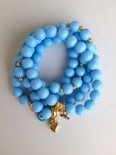 blue beaded bracelets pulseiras de contas azul