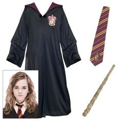 Hermione Granger Adult Costume Kit This costume kit contains the elements needed to be Hermione Granger: a Gryffindor house robe and deluxe tie and Hermione's wand! - $60