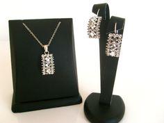 Rhinestone crystal wedding jewelry set 925 sterling silver by xxyz, $49.00