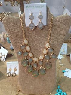 Iridescent statement necklace $38 earrings $14