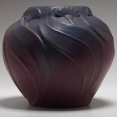 Van Briggle vase, deeply carved floral design under a maroon and blue matt glaze, incised marks, x Rookwood Pottery, Roseville Pottery, Antique Pottery, Ceramic Pottery, Pottery Art, Ceramic Art, Vases, Art Nouveau, Japanese Pottery