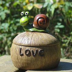 Kreativní Green Snail víkem keramický popelník – USD $ 24.99