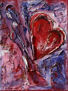 BURGSTALLER Herz Bild handgemalt Gemälde Geschenk Herzbilder Liebe Partner 28