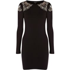 Warehouse Embellished Shoulder Bodycon Dress, Black ($28) ❤ liked on Polyvore featuring dresses, vestidos, robes, long sleeve dress, long-sleeve maxi dress, sleeve dress, rayon dress and bodycon cocktail dress