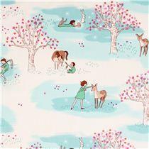 """tela de niños de Sarah Jane de """"Wee Wander""""con niños, ciervos, caballo y árboles"""