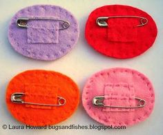 lucky panties felt pins (with a great way to secure pins to the back of merit badge style felt!)