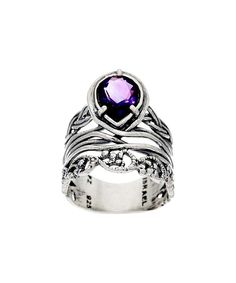Another great find on #zulily! Amethyst & Sterling Silver Weave-Band Pear-Cut Ring by Or Paz #zulilyfinds