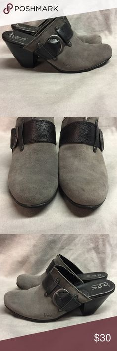 BOC Born Concept Mules Gray Leather Sz 9M/40.5 BOC Born Concept Mules Gray Leather Buckle Clogs Shoes Slip On Heels Sz 9M/40.5 Cute styling with buckle detail  Condition: Minor scuffs from being worn Please see pics to see if they will work for you! Born Shoes Mules & Clogs