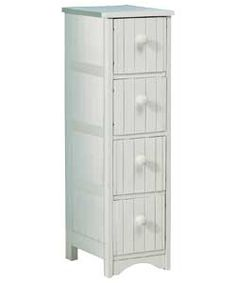 Tongue and Groove 4 Drawer Storage Unit - White.