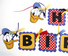 Donald Duck Themed Happy Birthday Banner Party by ScrapsToRemember, $28.00