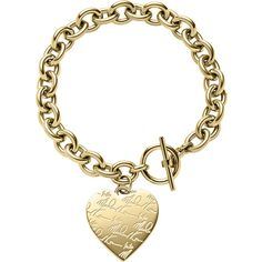 Michael Kors Golden Etched MK Heart Bracelet ($100) ❤ liked on Polyvore featuring jewelry, bracelets, accessories, pulseiras, pulseras, gold, charm jewelry, michael kors bangle, stainless steel jewellery and michael kors jewelry