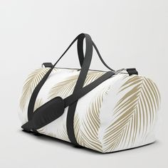 Palm Leaves Pattern - Gold Cali Vibes Duffle Bag by anitabellajantz Duffle Bag Travel, Travel Bags, Duffle Bags, Bags Game, Cali, Gym Bag, Print Design, Shoulder Strap, Brushed Nickel