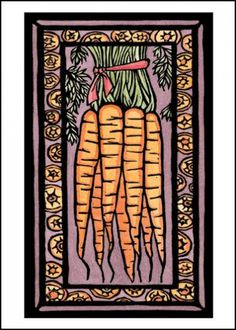 SA040 Carrots Card - kitchen, farmer's market, & summer garden art! Interior design - fruits & vegetables. Image is available as an original, reproduction, and greeting card. Sarah Angst Fine Artist & Printmaker Bozeman, Montana. www.sarahangst.com