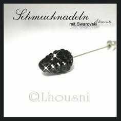 """SCHWARZ - Schmucknadeln - Hijabpins - Hijabnadeln mit Swarovski Elements in Kegelform simple, die Nadel ist ca. 7,5 cm lang, diese Accessoires werden in liebevoller Handarbeit in unserer """"FUNKELZONE.de"""" hergestellt...."""